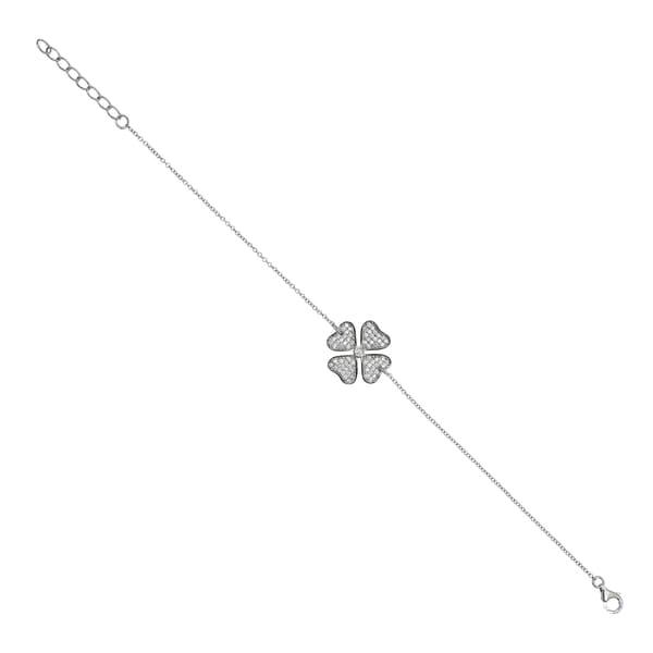 Sterling Silver Cubic Zirconia Clover Bracelet