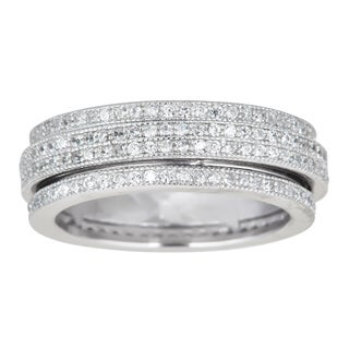 Sterling Silver Spinner Micropave CZ Eternity Ring