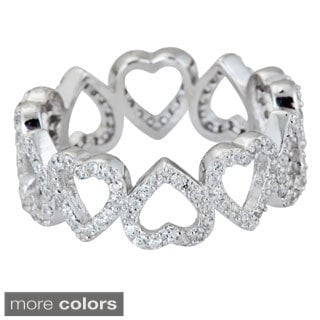 Decadence Sterling Silver Heart-shaped Micropave CZ Eternity Ring