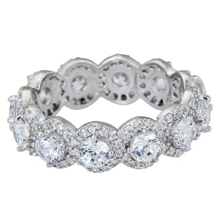 Sterling Silver Antique Round and Micropave Cut CZ Eternity Ring