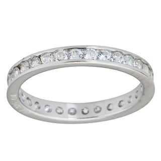 Sterling Silver Round Channel Set CZ Eternity Ring