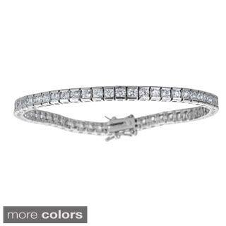 Sterling Silver Princess-cut Cubic Zirconia Tennis Bracelet