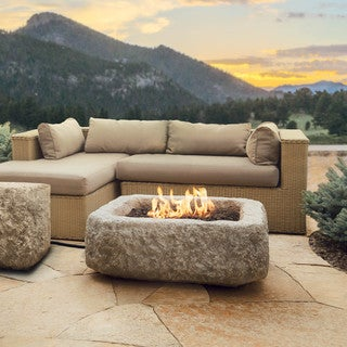 Real Flame Antique Stone Square Propane Fire Pit