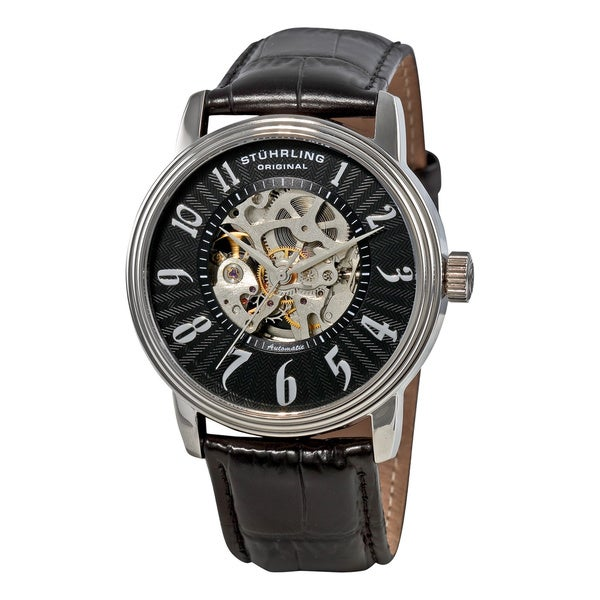 Stuhrling Original Men's Romeo Automatic Black Strap Watch (As Is Item)