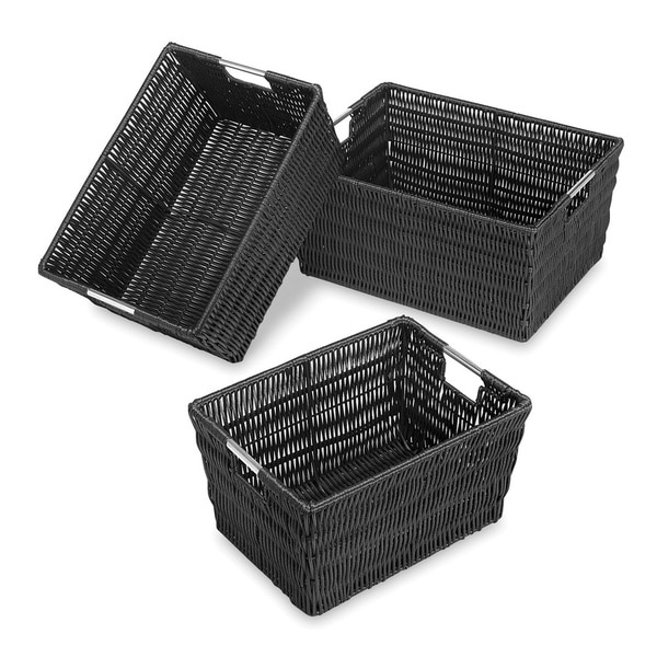 Rattique Storage Baskets 3 Blk