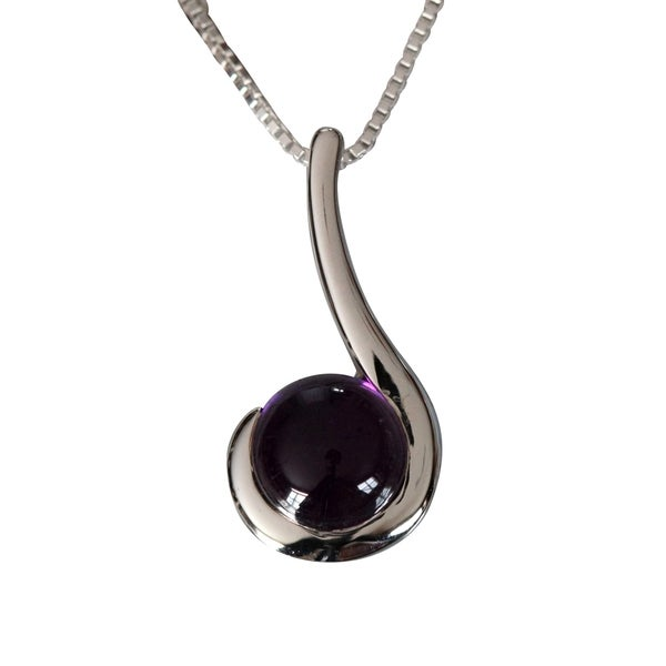 Sterling Silver Round Amethyst Pendant (Thailand)