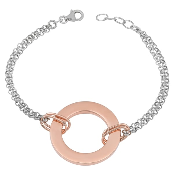 Argento Italia Two-tone Sterling Silver Love Circle Adjustable Rhodium-plated Bracelet