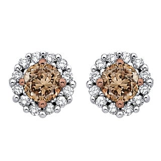 10k White Gold 1/2ct TDW Brown and White Diamond Halo Earrings (G-H, I2-I3)