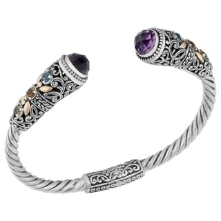 18k Gold and Sterling Silver Amethyst Multi-stone Cawi Cuff Bracelet (Indonesia)