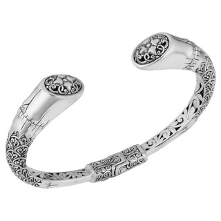 Sterling Silver 'Floral Rapture' Cawi Cuff Bracelet (Indonesia)