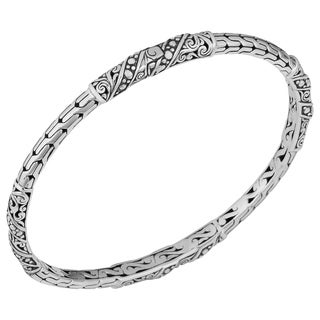 Sterling Silver 'Bali Art' Cawi Bangle Bracelet (Indonesia)