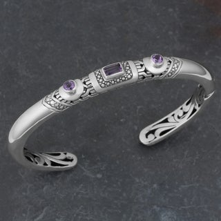 Sterling Silver Amethyst 'Imagine' Cuff Bracelet (Indonesia)