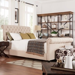TRIBECCA HOME Knightsbridge Rolled Top Tufted Chesterfield King Platform Bed with Footboard