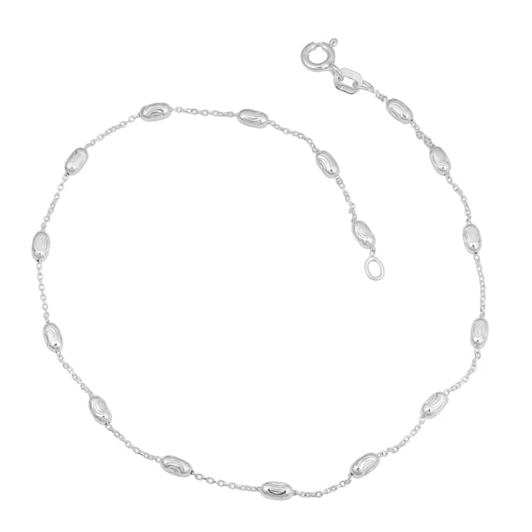 Fremada Sterling Silver Stylish Diamond-cut Oval Bead Station Anklet