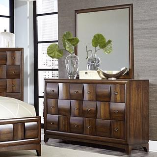 Darian Classic Medium Walnut 6-drawer Dresser and Mirror
