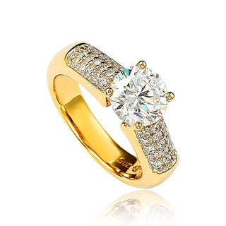 Suzy Levian Gold over Sterling Silver Cubic Zirconia Engagement Ring