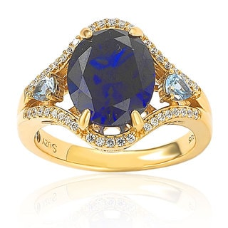 Suzy Levian Goldplated Sterling Silver Created Sapphire Cubic Zirconia Love Ring