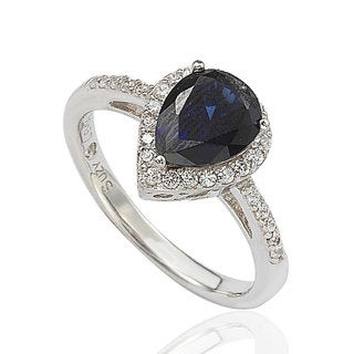 Suzy Levian Sterling Silver Created Blue Sapphire Pear Ring