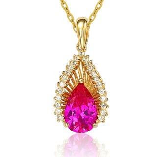 Suzy Levian Sterling Silver Pink Cubic Zirconia Necklace