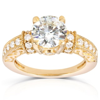 Annello 14k Yellow Gold Round-cut Moissanite 2/5ct TDW Diamond Engagement Ring (G-H, I1-I2)