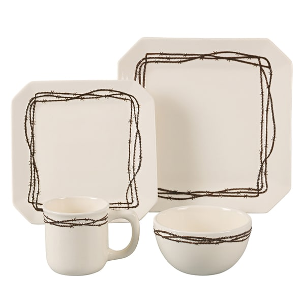 HiEnd Accents Barbwire Cream 16-piece Dinnerware Set