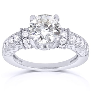Annello 14k White Gold Round-cut Moissanite 2/5ct TDW Diamond Engagement Ring (G-H, I1-I2)