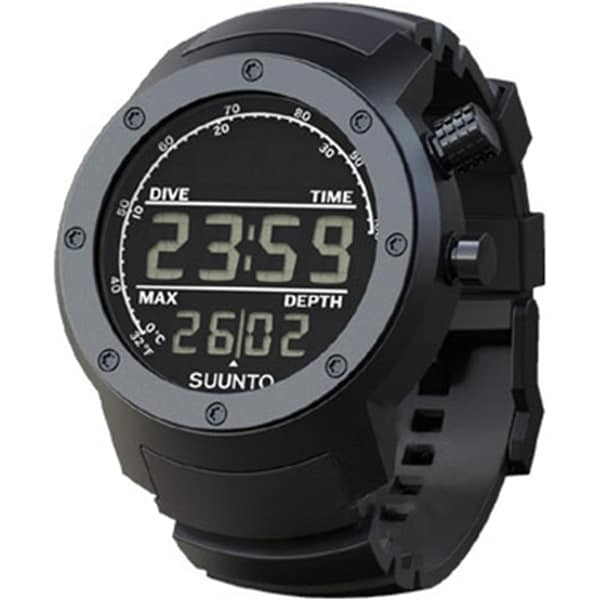 Suunto Men's Elementum Aqua Black Rubber/Dark Face SS014528000 Silvertone Aluminum Quartz Watch