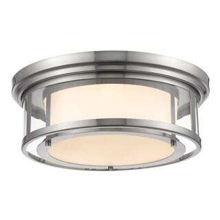 Z-Lite Luna 3-light Brushed Nickel with Matte Opal Glass Shade Flush Mount