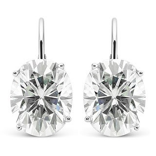 Charles & Colvard 14k White Gold 6.00 TGW Oval Classic Moissanite Leverback Earrings