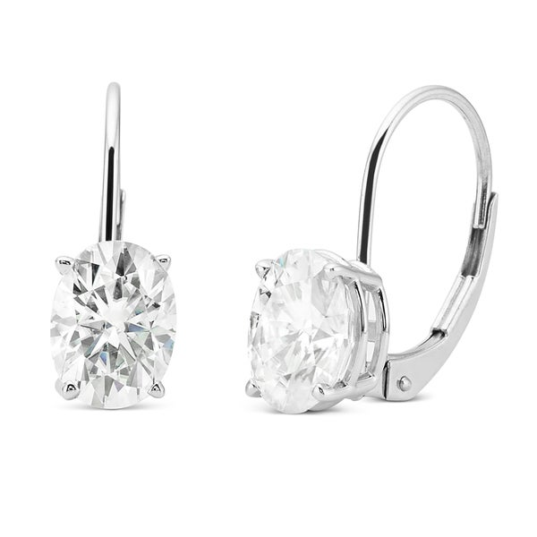 Charles & Colvard Created Moissanite 14k White Gold 1 1/2ct. Classic Oval Moissanite Solitaire Earrings