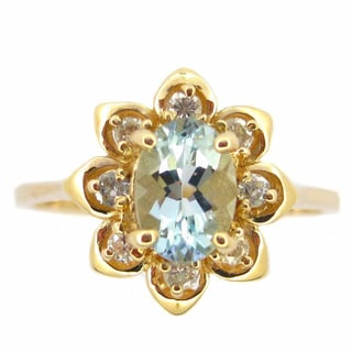 Kabella Jewelry 14k Yellow Gold Aquamarine Diamond Ring