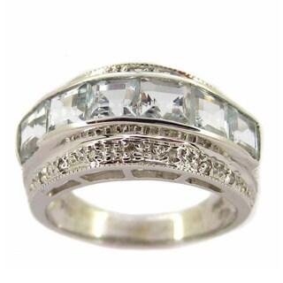 Kabella 14k White Gold Aquamarine 1/10ct TDW Diamond Ring (I-J, I2-I3) (Size 7.25)