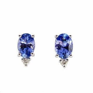 Kabella Luxe 14k White Gold Tanzanite Diamond Accent Earrings