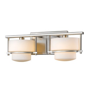 Z-Lite Porter 2-light Brushed Nickel Matte Opal Vanity