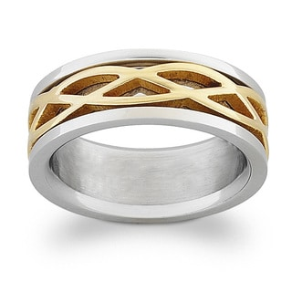 Titanium Two-Tone Engraved Celtic Weave Band