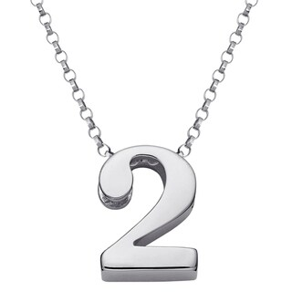 Sterling Silver Single Number or Heart Charm Necklace
