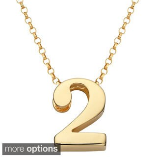 Gold over Sterling Silver Single Number or Heart Charm Necklace