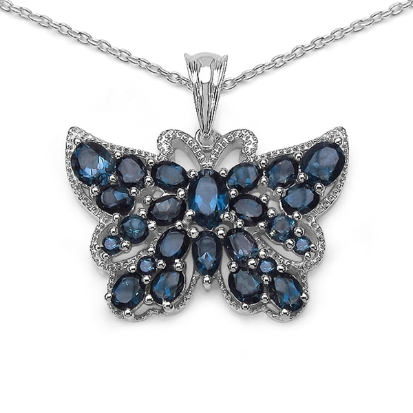 Sterling Silver London Blue Topaz Butterfly Necklace