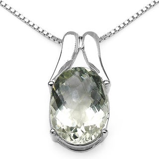 Malaika Sterling Silver Oval-cut Green Amethyst Solitaire Pendant