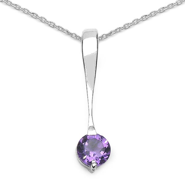 Sterling Silver Amethyst Solitaire Drop Pendant
