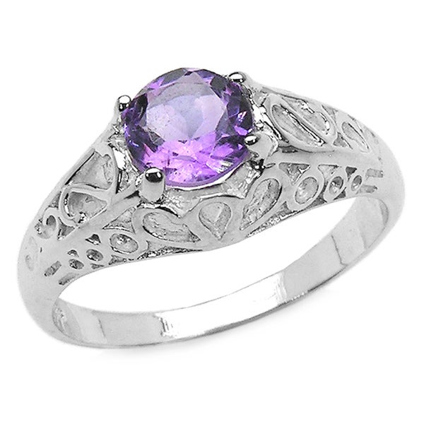 Sterling Silver Amethyst Classic Intricate Ring