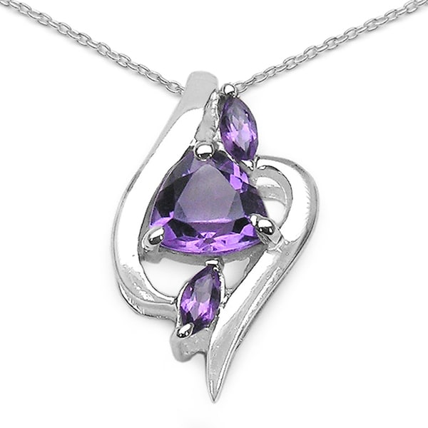 Sterling Silver 3-stone Trillion and Marquise Amethyst Fancy Pendant