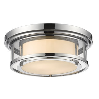 Z-Lite Luna 2-light Chrome Matte Opal Flush Mount