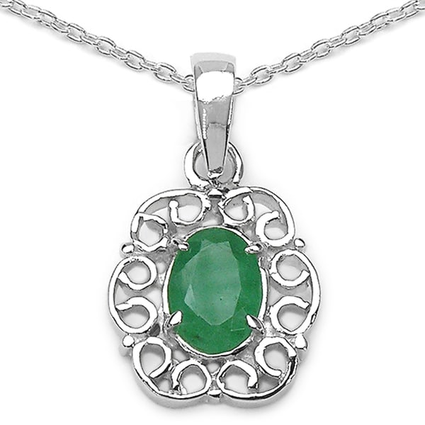 Sterling Silver Oval-cut Emerald Fancy Pendant
