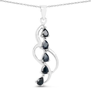 Malaika 1.00 Carat Genuine Blue Sapphire .925 Sterling Silver Pendant