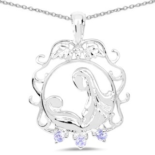 Malaika Sterling Silver Tanzanite Mother and Baby Necklace