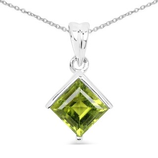 Malaika Sterling Silver Peridot Square-shaped Necklace
