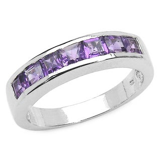 Sterling Silver Square-cut Amethyst 7-stone Ring