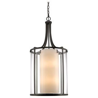 Z-Lite Willow 12-light Olde Bronze Clear Outer Glass Shade/ Inner Matte Opal Glass Shade Pendant