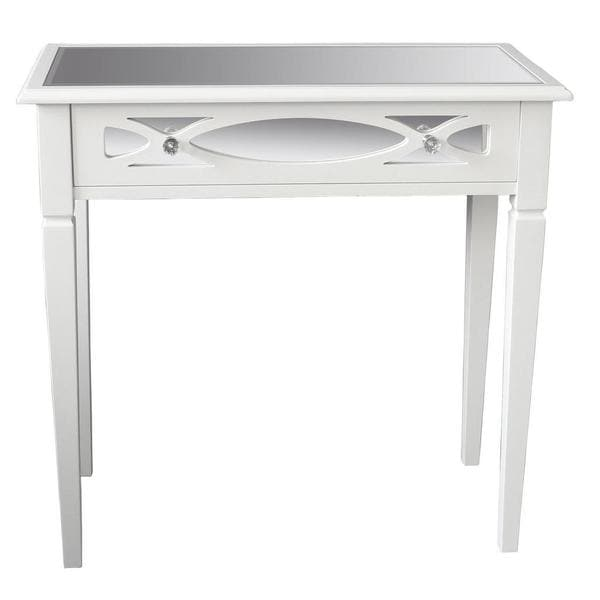Alina white console table with mirror detail - Mirrored console table overstock ...